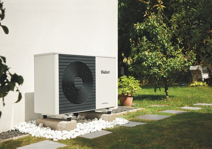 The Vaillant aroTHERM air source heat pump outside of a modern home