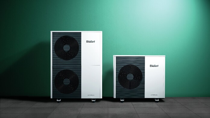The Vaillant aroTHERM plus air source heat pump range on a green background