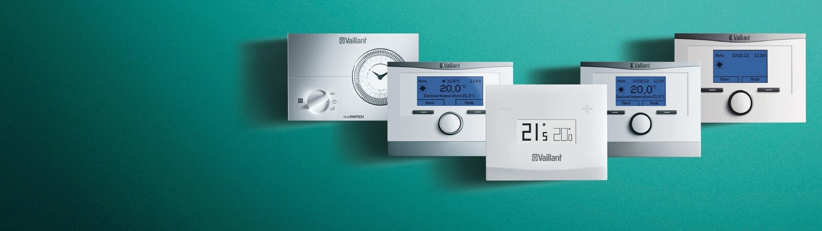 The Vaillant control range on a green background