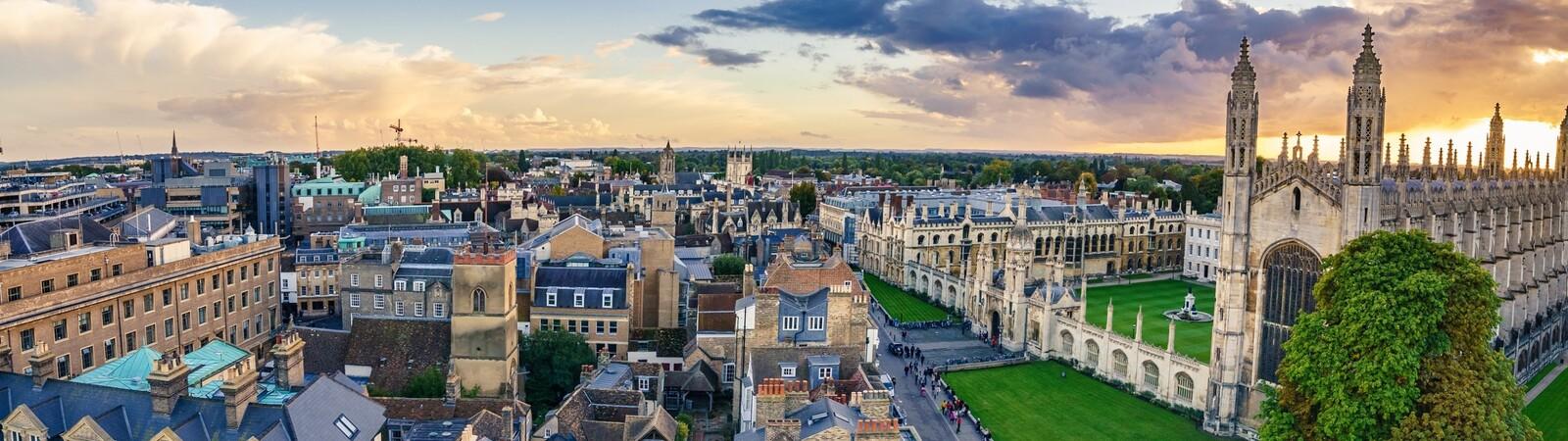 An aerial shot of Cambridge