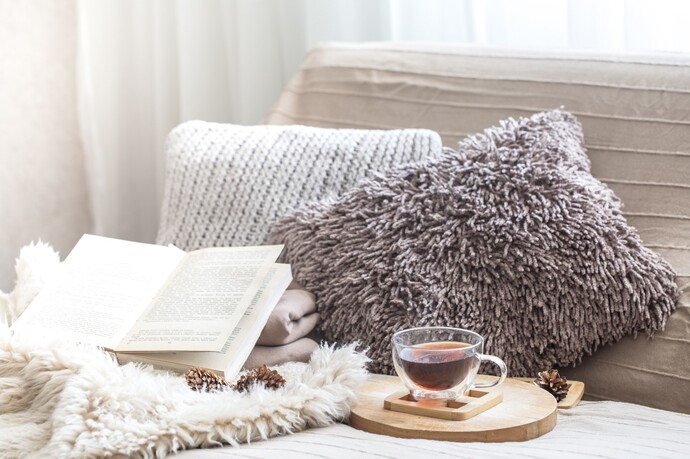 Cushions, a blanket, a book and a hot drink on a sofa