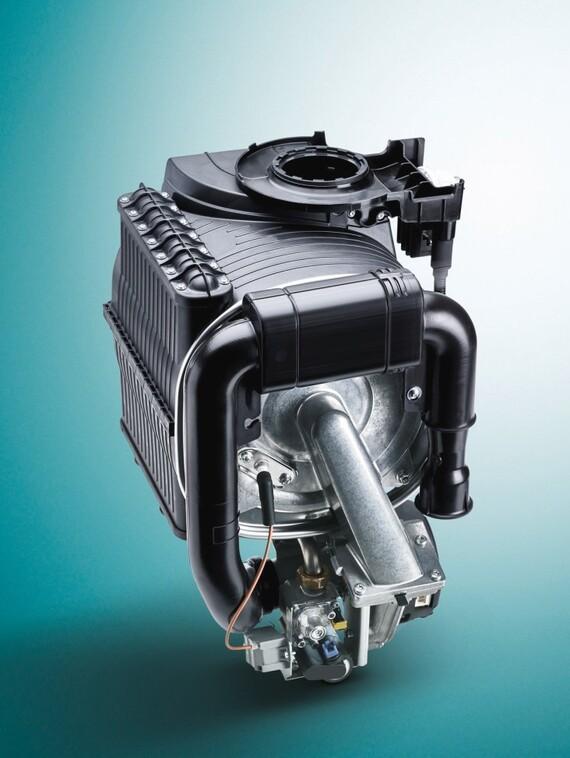 ecoTEC plus 48 & 64kW heat exchanger on a green background