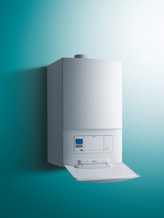 Front facing ecoTEC plus 48 & 64kW with an open panel on a green background