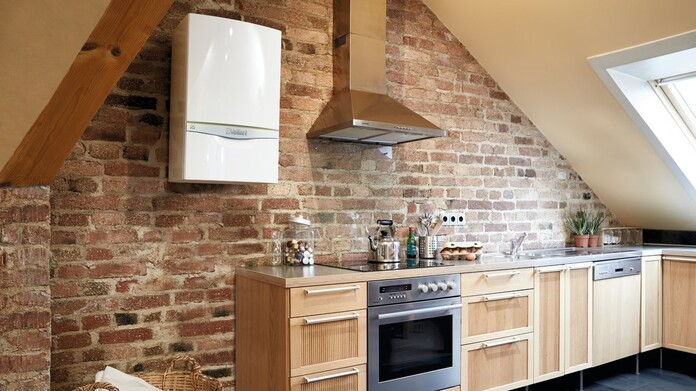 ecoTEC exclusive with Green iQ on the wall of a modern kitchen