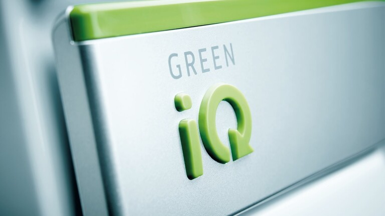 Close up of Green iQ logo on an ecoTEC exclusive boiler