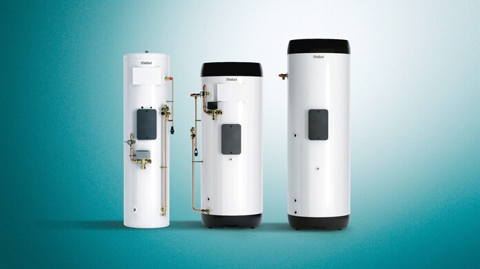 uniSTOR hot water cylinder range on a green background