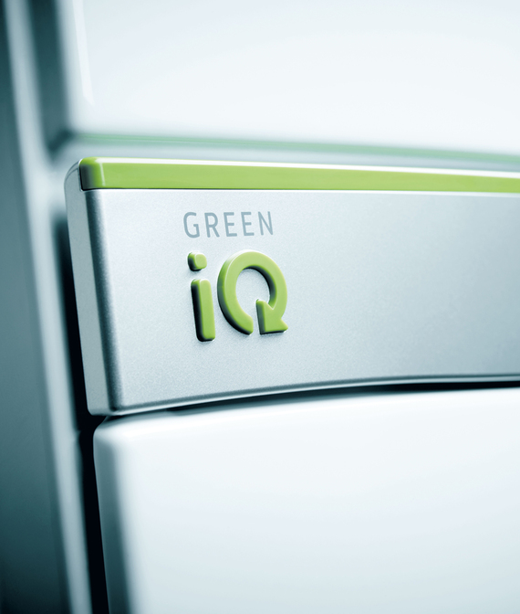 Close up of the ecoTEC exclusive front panel focussing on the Green iQ logo