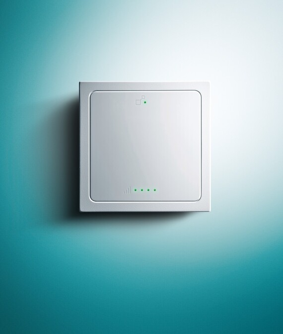 VR 100 Social Housing Gateway on a Vaillant green background